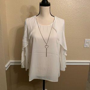 JM Collection White Necklace Blouse Petite Medium